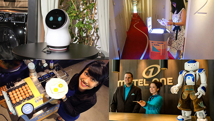 Top l to r: LG unveiled CLOi at CES; M Social's Aura brings bottled water to guests in their room Bottom l to r: M Social's Ausca cooks eggs for a patron; Motel One Munich's concierge robot Sepp greets people and helps answer their questions like directions to a bar